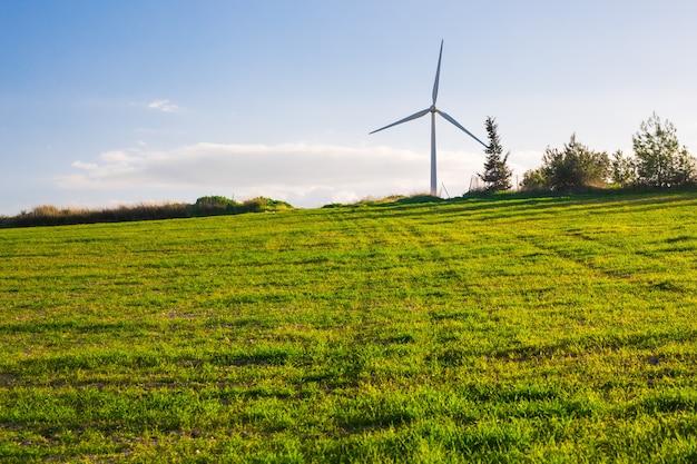 Grüne wiese mit windkraftanlagen zur stromerzeugung.