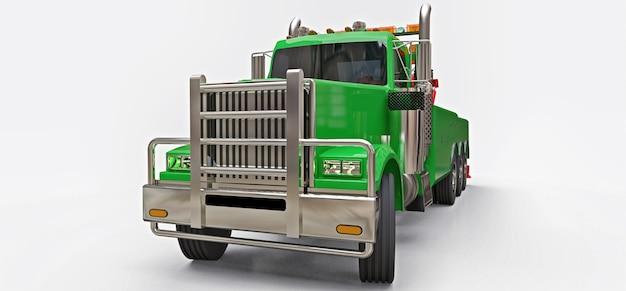 Grüner abschleppwagen zum transport anderer großer lkws oder verschiedener schwerer maschinen. 3d-rendering.