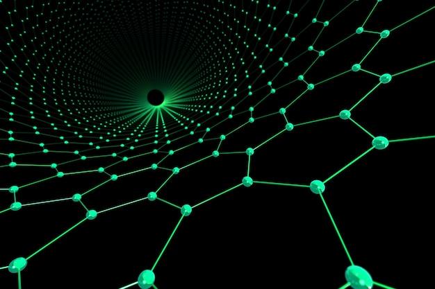 Grüner abstrakter sechseck- und kugelhintergrund. verbindungs- und technologiekonzept.