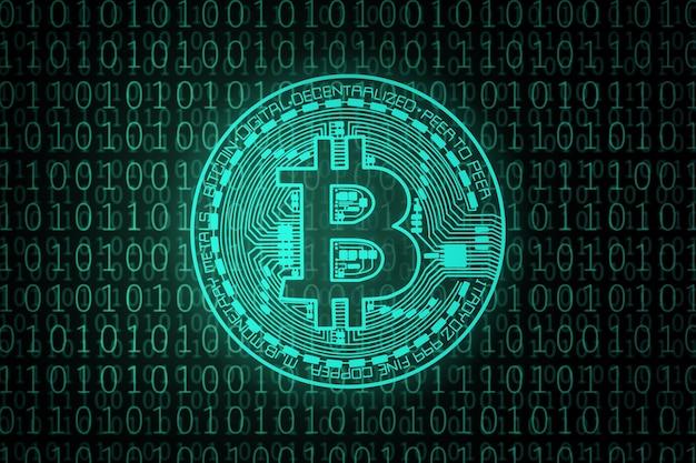Grüner bitcoin auf binärcode.