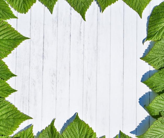 Grüner blätterrahmen mit hölzernem hintergrund