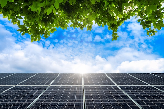 Grüner blätterrahmen mit photovoltaik-solarstrompanel auf sichtfrühlingsblauhimmel