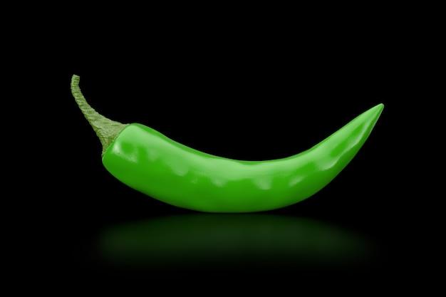 Grüner chili pepper auf schwarzem hintergrund. 3d-rendering