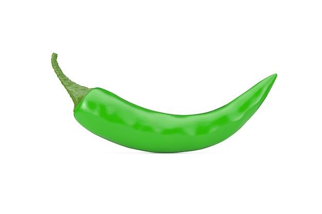 Grüner chili-pfeffer auf weißem hintergrund. 3d-rendering