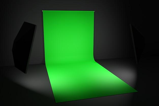 Grüner fotografischer hintergrund 3d auf schwarz
