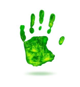 Grüner handabdruck auf weißem hintergrund