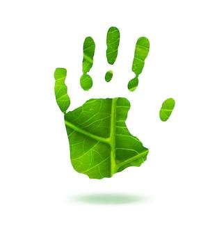 Grüner handabdruck aus blattökologiekonzept