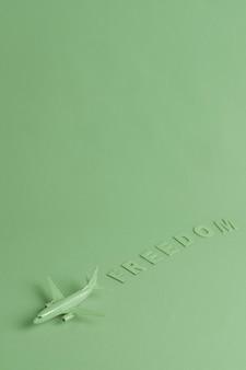 Grüner hintergrund mit spielzeugflugzeug