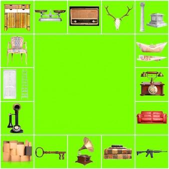 Grüner hintergrund mit verschiedenen objekten