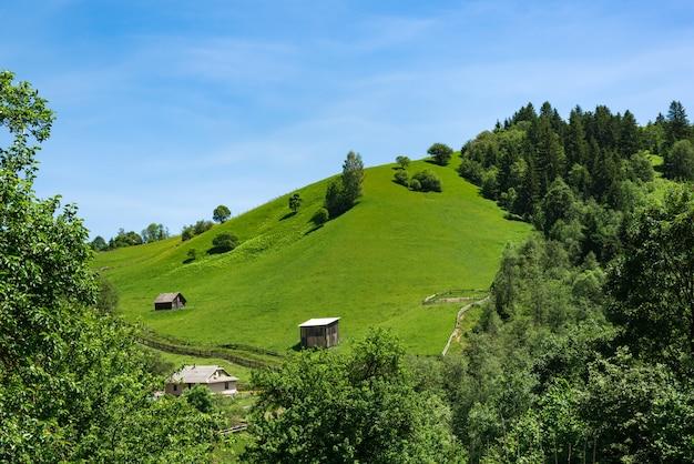 Grüner hügel und blauer himmel. ländliche landschaft in den bergen. bleib im dorf.
