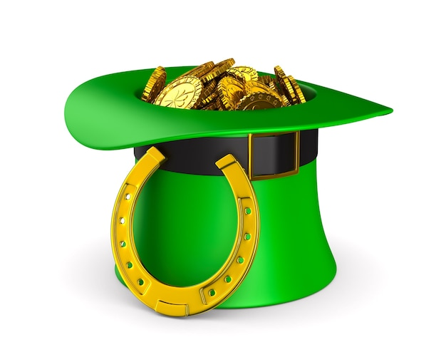 Grüner hut des st. patrick-tages mit geld-3d-illustration
