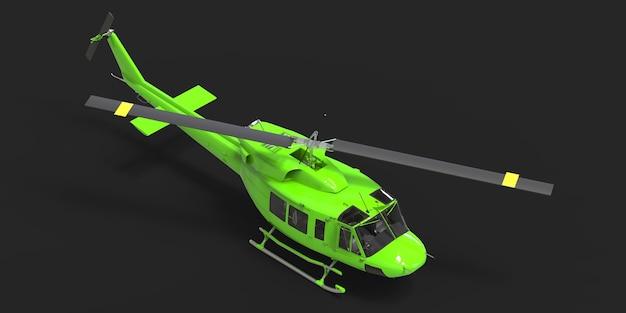 Grüner kleiner militärtransporthubschrauber auf schwarzem lokalisiertem hintergrund. der helikopter-rettungsdienst. lufttaxi. hubschrauber für polizei, feuerwehr, krankenwagen und rettungsdienst. 3d-darstellung.