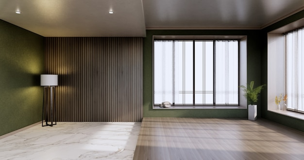 Grüner leerer raum, modernes japanisches holzinterieur, vintage - tropischer stil .3d-rendering
