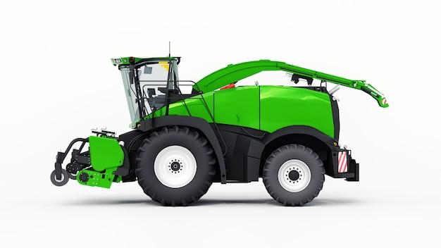 Grüner moderner mähdrescher auf weißem hintergrund. 3d-rendering.
