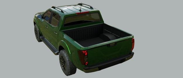 Grüner nutzfahrzeug-lieferwagen mit doppelkabine 3d-rendering
