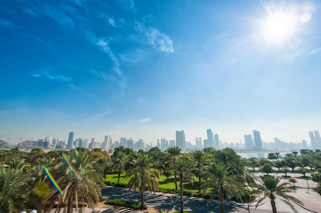 Grüner park mit palmen auf wolkenkratzern