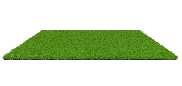 Grüner rasen auf weißem hintergrund. 3d-darstellung