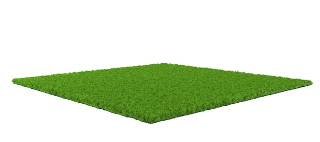 Grüner rasen auf weißem hintergrund. 3d-illustration