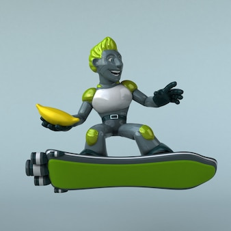 Grüner roboter - 3d-illustration