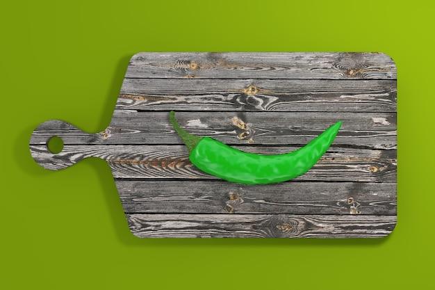Grüner scharfer chili-pfeffer über hölzernem schneidebrett auf einem grünen hintergrund. 3d-rendering