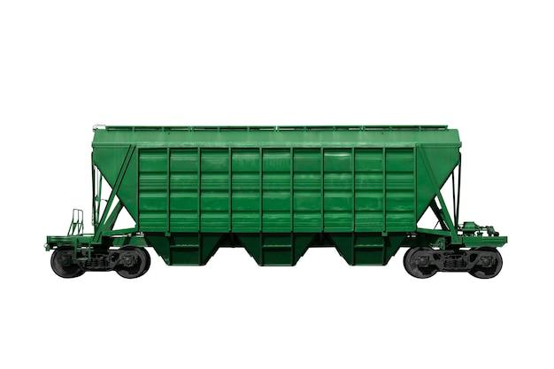 Grüner schienenfahrzeug lokalisiert auf einem weißen hintergrund. güterverkehr