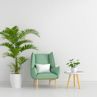 Grüner sessel im wohnzimmer mit freiem raum