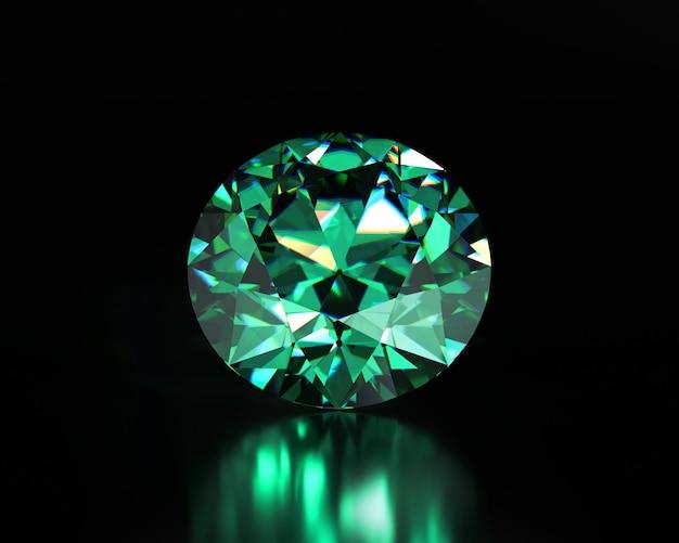 Grüner smaragddiamant auf dunklem hintergrund 3d-darstellung platziert