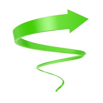 Grüner spiralpfeil twist bis zum erfolg auf weißem hintergrund. 3d-rendering