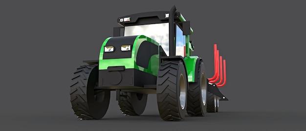 Grüner traktor mit einem anhänger zum aufzeichnen auf einer grauen oberfläche