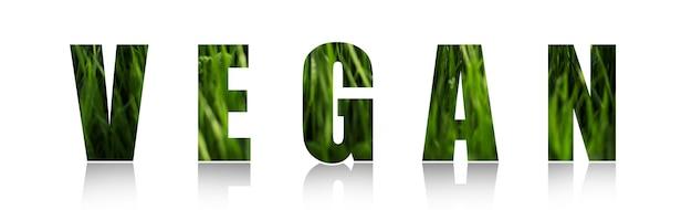 Grüner veganer text lokalisiert auf weißem hintergrund.