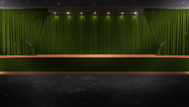 Grüner vorhang und ein scheinwerfer. festivalnacht-showplakat