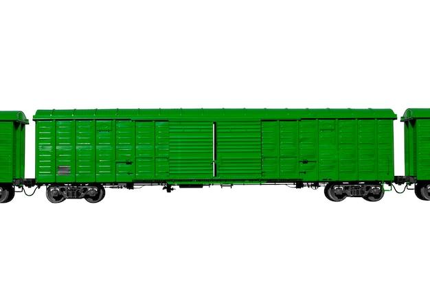 Grüner waggon isoliert auf weißem hintergrund. güterverkehr. foto in hoher qualität