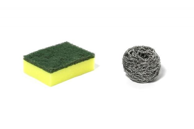 Grüner wollreiniger aus nylonfasern und reinigung von stahldrahtwolle