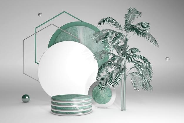 Grünes 3d-sockelpodest mit palmenblatt gegen graue wand marmoranzeigevitrine für schönheitskosmetikprodukte trendy abstract 3d render illustration