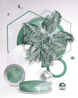 Grünes 3d-sockelpodest mit palmenblatt gegen weiße wand marmorsommeranzeige-schaufenster für schönheitskosmetikprodukte trendy abstrakte vertikale illustration