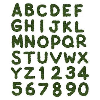 Grünes alphabet a bis z auf weißem hintergrund