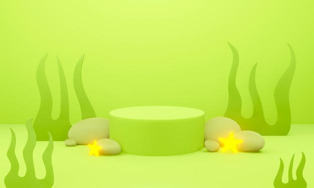Grünes anzeigepodest 3d mit wasser, steinfelsen und seetang unter wasser