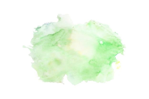 Grünes aquarell auf weißem hintergrund