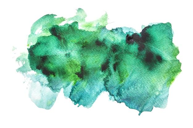 Grünes aquarell lokalisiert auf weißen hintergründen, handmalerei