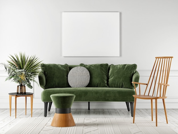 Grünes bequemes sofa mit dem plakat zur präsentation.