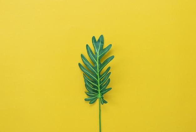 Grünes blatt der flachen lage auf modernem rustikalem gelbem papierhintergrund.