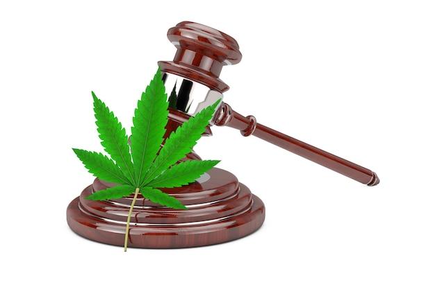 Grünes cannabisblatt mit rotem richterhammer aus holz auf weißem hintergrund. 3d-rendering