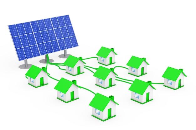 Grünes energiekonzept. viele häuser mit dem solarpanel auf weißem hintergrund verbunden. 3d-rendering.