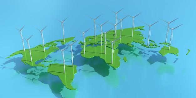Grünes energiekonzept. windkraftanlagen auf der weltkarte. umweltfreundliche energiequelle. 3d-darstellung