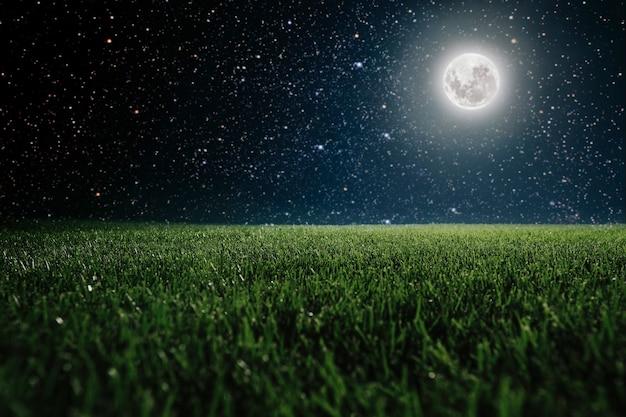 Grünes feld auf dem hintergrund des nachthimmels. elemente dieses von der nasa bereitgestellten bildes