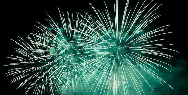 Grünes feuerwerk, das am nachthimmel explodiert