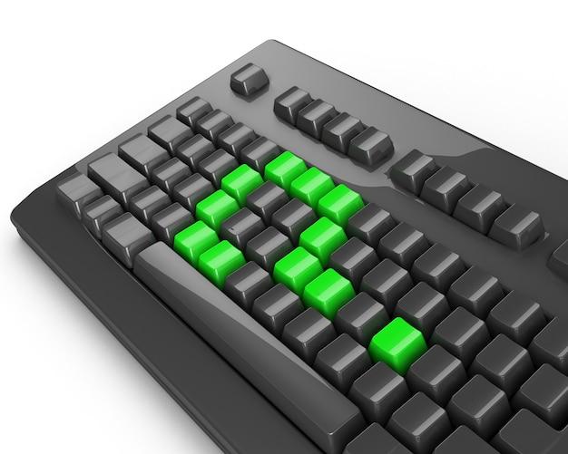 Grünes fragezeichen auf der computertastatur