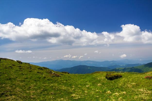 Grünes gebirgspanorama unter blauem himmel am hellen sonnigen tag. tourismus- und reisekonzept, hintergrund kopieren.