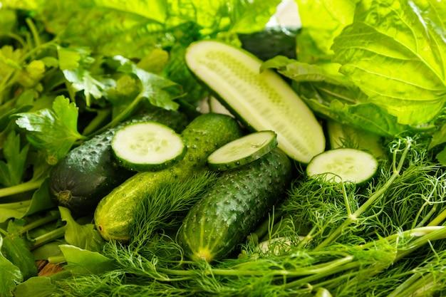 Grünes gemüse, pflanzen und kräuter