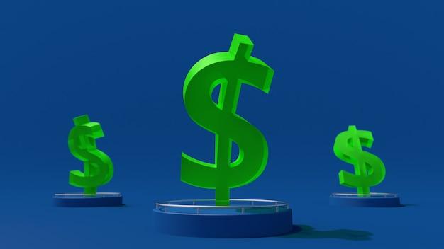 Grünes glasdollarzeichen. währungsschwankungskonzept. blauer hintergrund. abstrakte illustration,